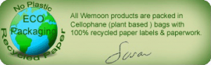 all wemoon products are packaged in cellophane plant based packaging with 100% recycled labels & paperwork