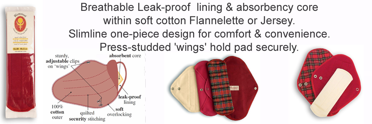 Wemoon natural pads with leak proof lining @ absorbency core in organic fabric.