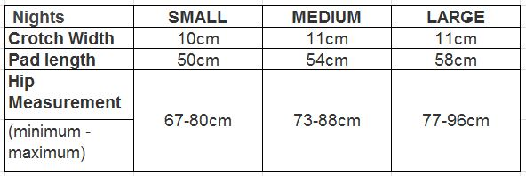 Wemoon night Pad size chart