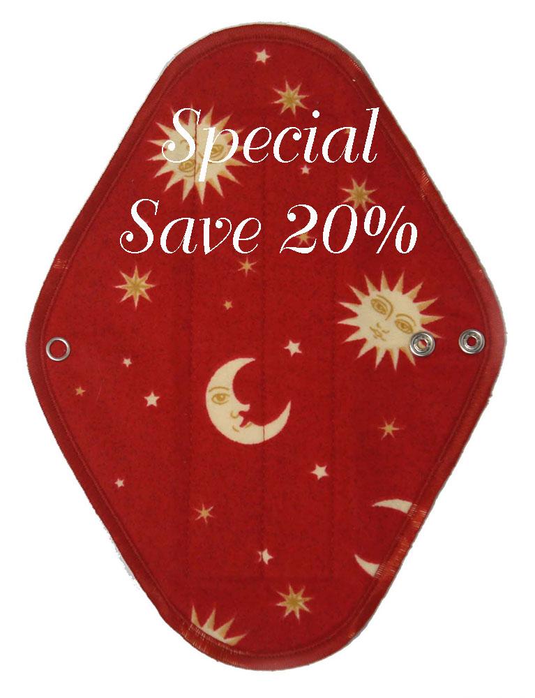 Slim Red Moon - flannelette